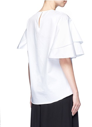 Back View - Click To Enlarge - Tibi - Asymmetric ruffle sleeve poplin top