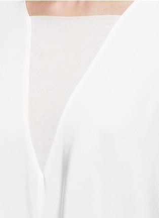 Detail View - Click To Enlarge - Tibi - Dolman sleeve sheer V-neck silk top