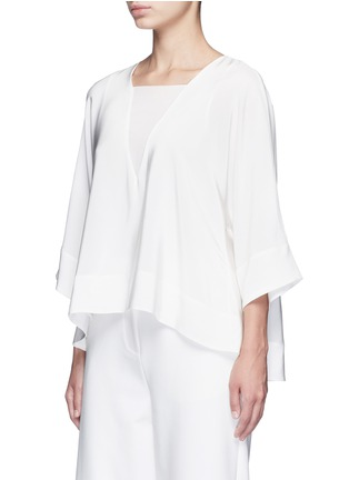 Front View - Click To Enlarge - Tibi - Dolman sleeve sheer V-neck silk top