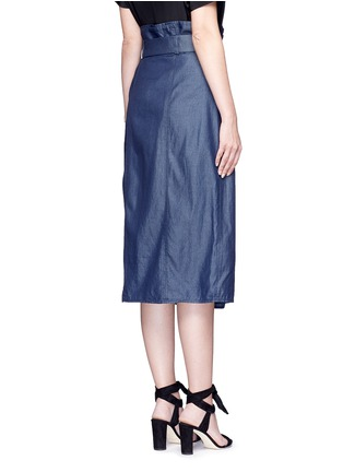 Back View - Click To Enlarge - Tibi - Belted paperbag waist twill skirt
