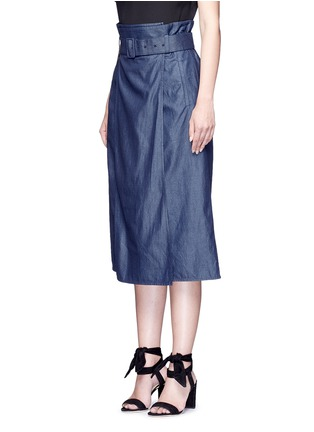 Front View - Click To Enlarge - Tibi - Belted paperbag waist twill skirt