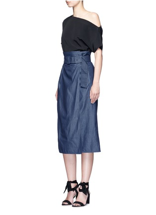 Figure View - Click To Enlarge - Tibi - Belted paperbag waist twill skirt