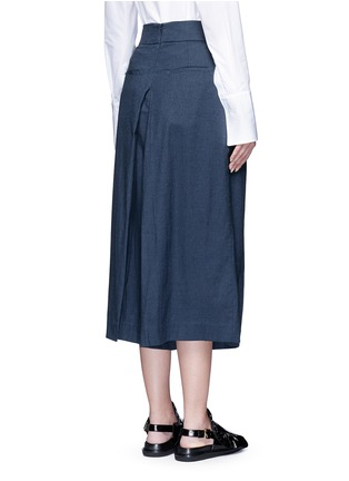 Back View - Click To Enlarge - Tibi - Inverted pleat cotton twill culottes