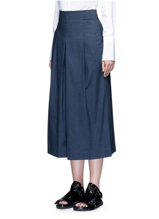 Front View - Click To Enlarge - Tibi - Inverted pleat cotton twill culottes