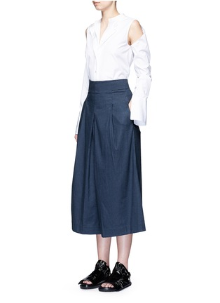 Figure View - Click To Enlarge - Tibi - Inverted pleat cotton twill culottes