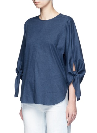 Front View - Click To Enlarge - Tibi - 'Sophia' tie cuff twill top