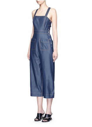 Front View - Click To Enlarge - Tibi - 'Neo' washed cotton twill overalls