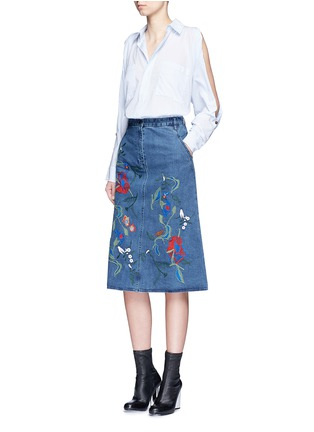 Figure View - Click To Enlarge - Tibi - 'Marisol' embroidered floral denim skirt