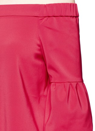 Detail View - Click To Enlarge - Tibi - Lantern sleeve off-shoulder faille top