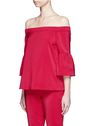 Front View - Click To Enlarge - Tibi - Lantern sleeve off-shoulder faille top