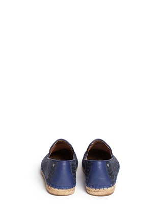 Back View - Click To Enlarge - UGG - 'Sandrinne' metallic basketweave leather espadrille slip-ons