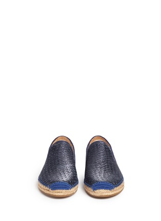 Front View - Click To Enlarge - UGG - 'Sandrinne' metallic basketweave leather espadrille slip-ons
