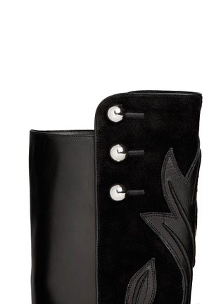 Detail View - Click To Enlarge - ISABEL MARANT - 'Raven' leather embroidery suede knee high boots