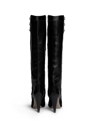 Back View - Click To Enlarge - ISABEL MARANT - 'Raven' leather embroidery suede knee high boots