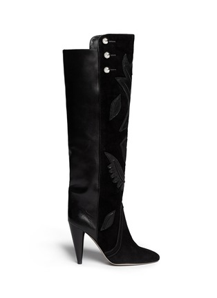 Main View - Click To Enlarge - ISABEL MARANT - 'Raven' leather embroidery suede knee high boots