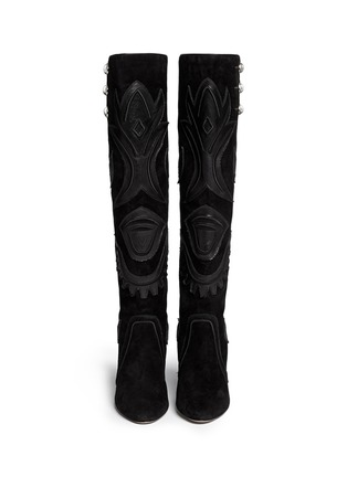 Figure View - Click To Enlarge - ISABEL MARANT - 'Raven' leather embroidery suede knee high boots
