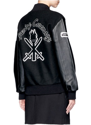 Back View - Click To Enlarge - Opening Ceremony - 'OC' leather sleeve varsity jacket
