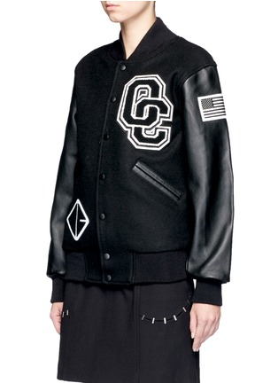 Front View - Click To Enlarge - Opening Ceremony - 'OC' leather sleeve varsity jacket