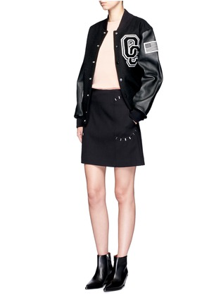 Figure View - Click To Enlarge - OPENING CEREMONY - 'OC' leather sleeve varsity jacket