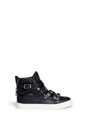 Main View - Click To Enlarge - Giuseppe Zanotti Design - 'London' buckle strap high top sneakers