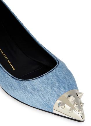 Detail View - Click To Enlarge - 73426 - 'Yvette' spike stud toe cap denim flats