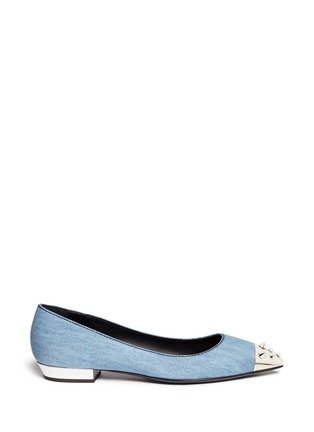 Main View - Click To Enlarge - 73426 - 'Yvette' spike stud toe cap denim flats