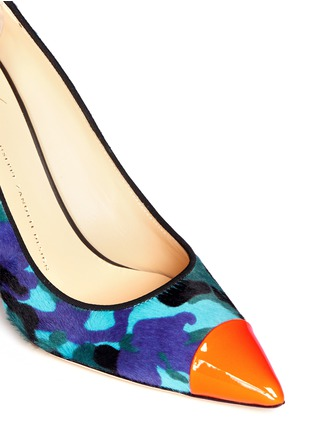 Detail View - Click To Enlarge - Giuseppe Zanotti Design - 'Yvette' neon toe cap camouflage ponyhair pumps