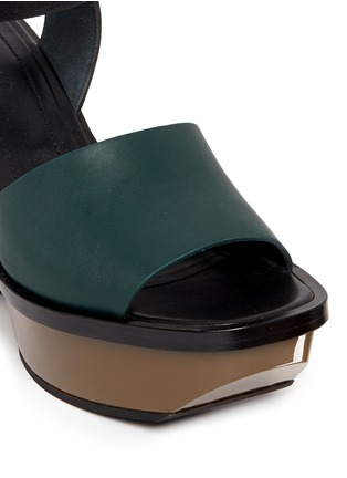 Detail View - Click To Enlarge - Marni - Colourblock acetate wedge platform leather sandals