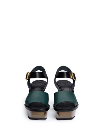 Front View - Click To Enlarge - Marni - Colourblock acetate wedge platform leather sandals