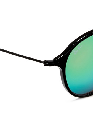 Detail View - Click To Enlarge - Ray-Ban - 'Round Fleck Flash' acetate gradient mirror sunglasses
