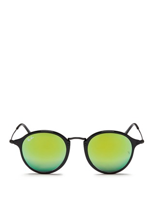 Main View - Click To Enlarge - Ray-Ban - 'Round Fleck Flash' acetate gradient mirror sunglasses