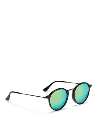 Figure View - Click To Enlarge - Ray-Ban - 'Round Fleck Flash' acetate gradient mirror sunglasses