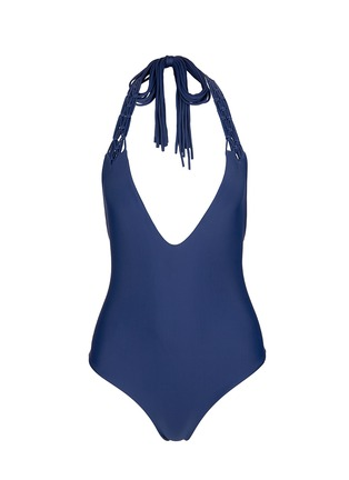 Main View - Click To Enlarge - Mikoh - 'Mediterranean' macramé halterneck one-piece swimsuit