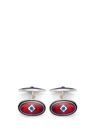 Main View - Click To Enlarge - Deakin & Francis  - Stone inlay double panel cufflinks