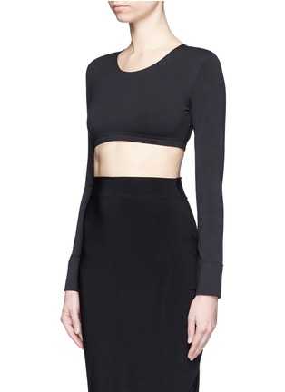 Front View - Click To Enlarge - Norma Kamali - Raw edged trim stretch cropped top