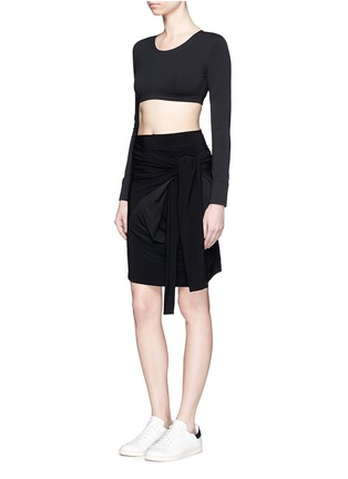 Figure View - Click To Enlarge - Norma Kamali - Raw edged trim stretch cropped top