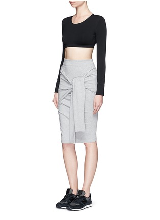 Detail View - Click To Enlarge - Norma Kamali - 'All In One Mini' convertible French terry skirt top