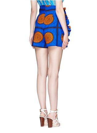 Back View - Click To Enlarge - STELLA JEAN - 'Sfoglina' tribal print ruffle appliqué shorts