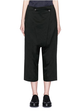 Main View - Click To Enlarge - Song for the Mute - Foldover front drop crotch cropped pants
