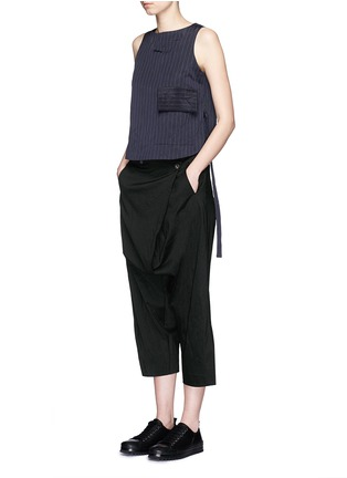 Figure View - Click To Enlarge - Song for the Mute - Foldover front drop crotch cropped pants