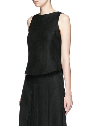 Front View - Click To Enlarge - Song for the Mute - Button back linen mesh sleeveless top