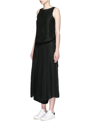Figure View - Click To Enlarge - Song for the Mute - Button back linen mesh sleeveless top