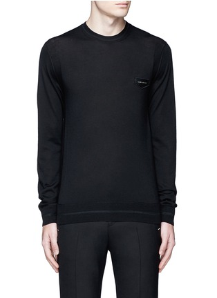 Main View - Click To Enlarge - GIVENCHY - Leather logo patch wool sweater