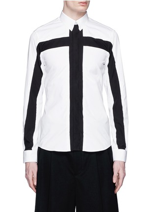 Main View - Click To Enlarge - Givenchy - Contrast cross front shirt