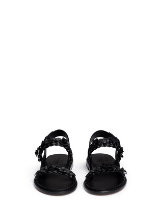 Front View - Click To Enlarge - Valentino - 'Garden Couture' floral embellishment leather sandals