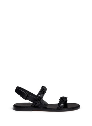 Main View - Click To Enlarge - Valentino - 'Garden Couture' floral embellishment leather sandals