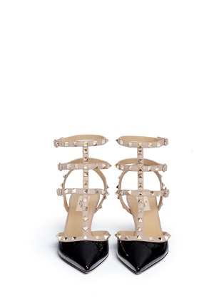 Front View - Click To Enlarge - Valentino - 'Rockstud' caged patent leather pumps