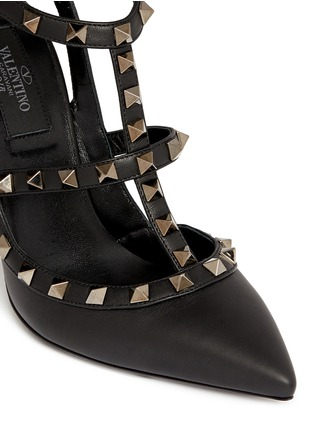Detail View - Click To Enlarge - Valentino - 'Rockstud Noir' caged leather pumps