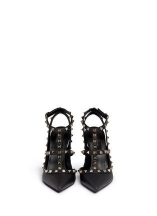 Front View - Click To Enlarge - Valentino - 'Rockstud Noir' caged leather pumps