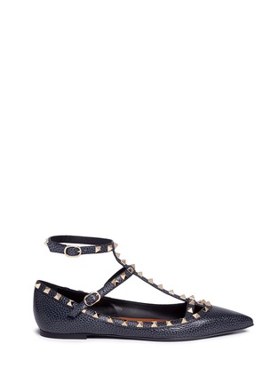 Main View - Click To Enlarge - Valentino - 'Rockstud Ballerina' caged pebble leather flats